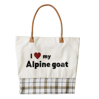 Alpine goat zazzle HEART tote bag