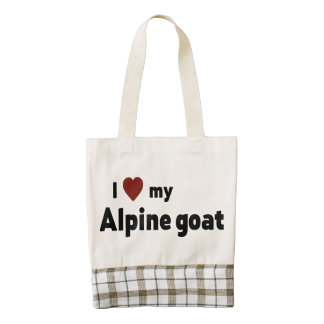 Alpine goat zazzle HEART tote bag