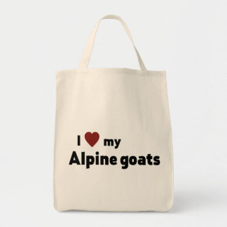 Alpine goats grocery tote bag