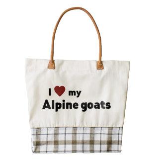 Alpine goats zazzle HEART tote bag
