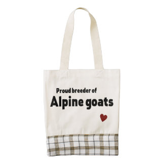 Alpine goats zazzle HEART tote bag