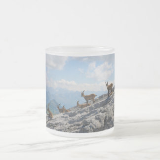 Alpine Ibex Wild Mountain Goats Frosted Glass Coffee Mug