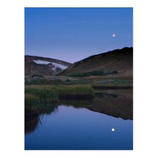 Alpine Lake Reflecting Moon Post Card