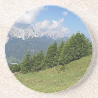 Alpine landscape sandstone coaster