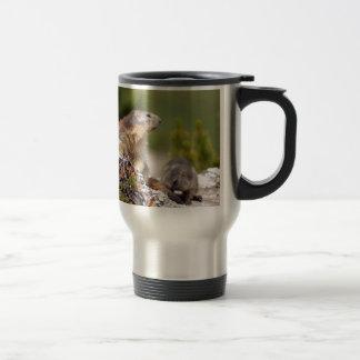 Alpine marmot and its young travel mug