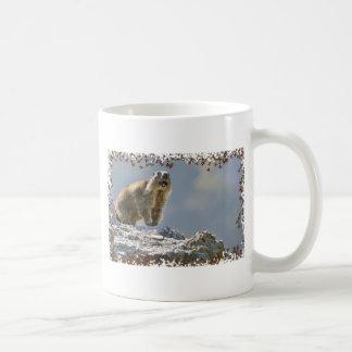 Alpine marmot in leaves frame mug