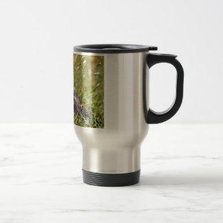 Alpine marmot near flower travel mug