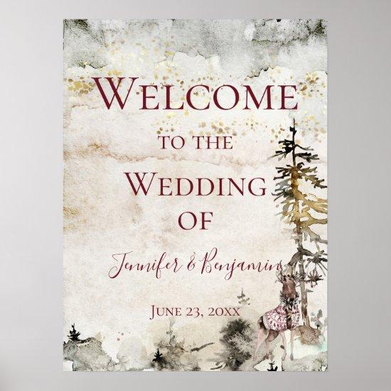Alpine Mountain Stag Burgundy Welcome Wedding   Poster