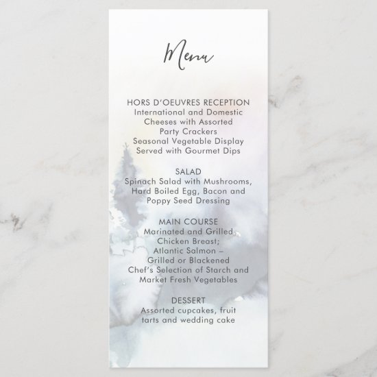 Alpine Mountain Wedding | Menu