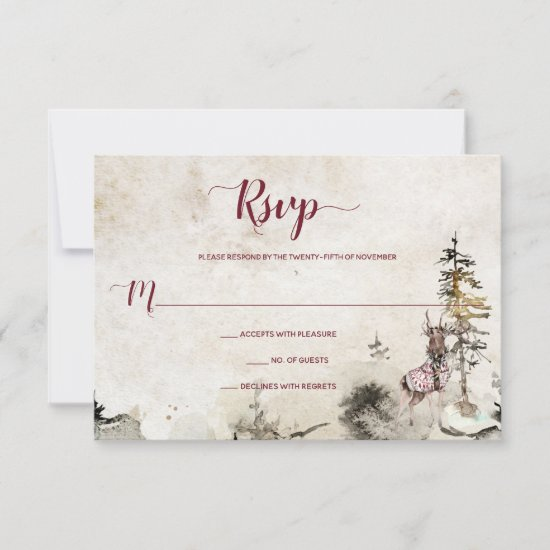 Alpine Mountain Woodland Stag Burgundy | RSVP Card