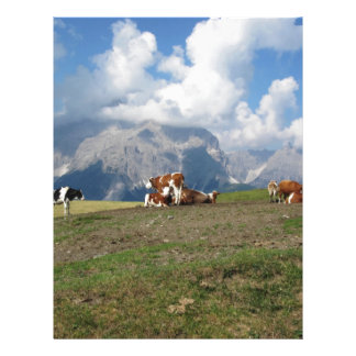 Alpine pasture with cows letterhead