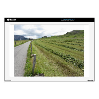 Alpine pasture with piles of grass clippings decals for laptops