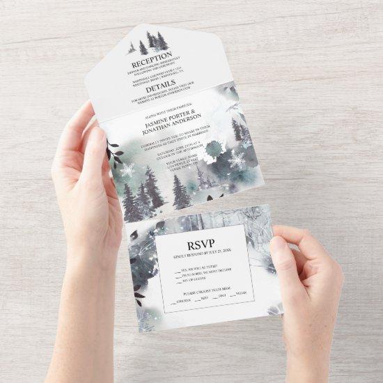 Alpine Pine Trees, Mountains, Mist Wedding   All In One Invitation