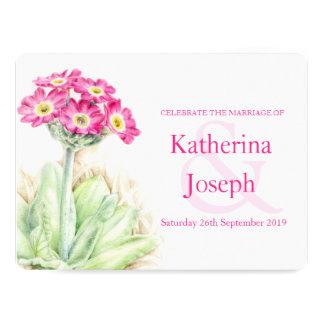 Alpine primrose watercolor pink wedding invite