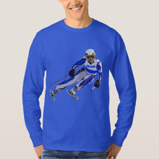 Alpine Skier In Blue With Your Name Drawing T-Shirt