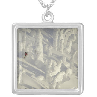 Alpine Skier in thick snowghosts at Big Square Pendant Necklace