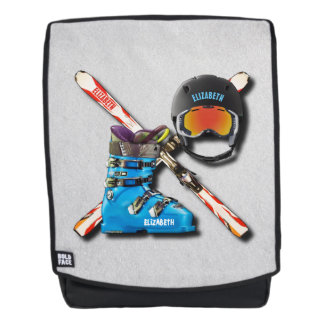 Alpine Skiing Boots Helmet Googles With Your Name Backpack