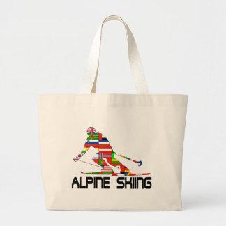 Alpine Skiing Large Tote Bag