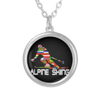 Alpine Skiing Silver Plated Necklace