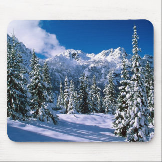 Alpine Snow Scene Mouse Pad
