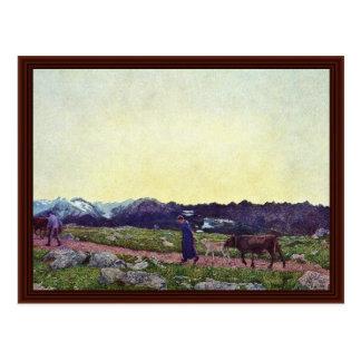 Alpine Triptych: Being By Segantini Giovanni Postcard
