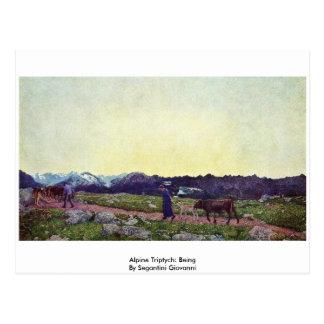 Alpine Triptych: Being By Segantini Giovanni Post Cards