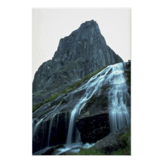 Alpine waterfall in the Logan Mountains, NWT, Cana Print