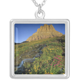 Alpine wildflowers & Mt Clements at Logan Pass Silver Plated Necklace