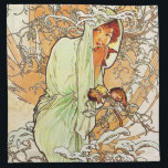 "Alpohnse Mucha Winter Napkins<br><div class=""desc"">Alphonse Mucha Winter napkins. Oil painting on canvas from 1896. Czech painter Alphonse Mucha depicted allegorical representations of the four seasons multiple times throughout his career. This version of Winter is from a series completed in 1896 and features a pretty young woman draped in an arctic blue robe with a...</div>"