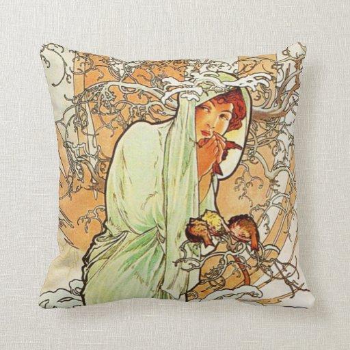 Alpohnse Mucha Winter Pillow