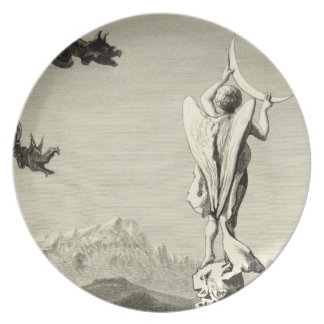 Alps Milan Angel Moon Cathedral Engraving Spire Plate