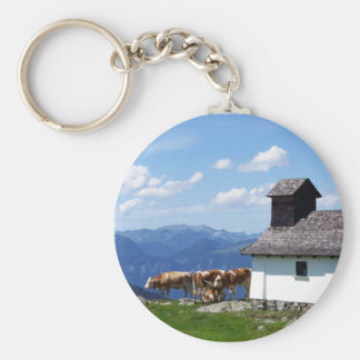 Alps Mountain Scene with Alpine Cows Keychain