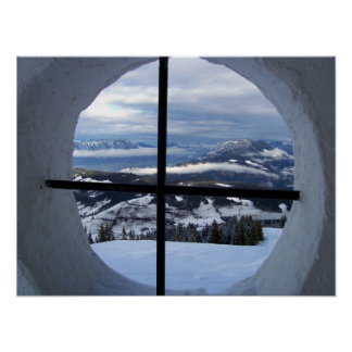 Alps Window View Photo Poster
