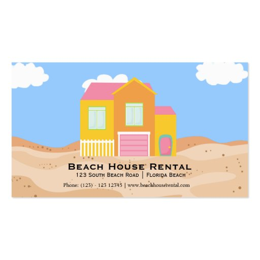 Alquiler de la casa de playa plantillas de tarjeta de negocio