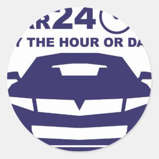 Alquileres de coches rápidamente por hora o día pegatina redonda