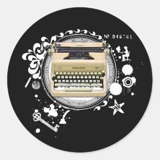 Alquimia de la máquina de escribir de la escritura pegatina redonda