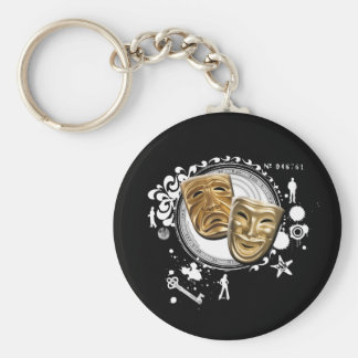 Alquimia de las máscaras temporarias del drama llavero redondo tipo pin