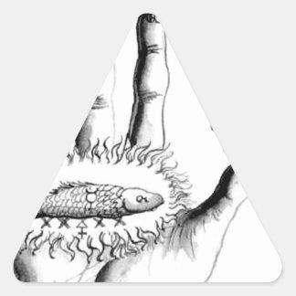 Alquimia inusual Steampunk de Sun de la mano Pegatina Triangular