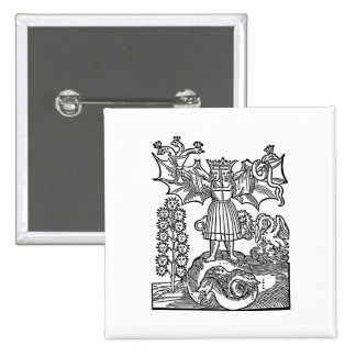 Alquimia - la piedra del filósofo pin cuadrada 5 cm