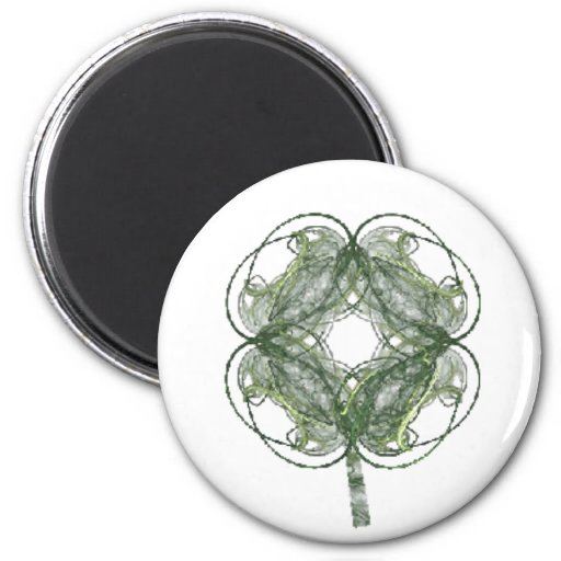 Alrededor de arte del fractal del trébol de cuatro imán redondo 5 cm