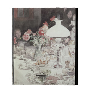 Alrededor de la lámpara en Evening, 1900 (w/c en e