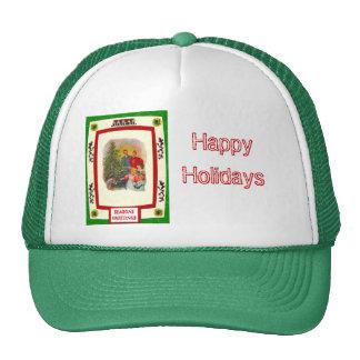 Alrededor del árbol de navidad gorras
