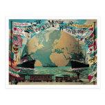 Alrededor del arte del poster del vintage del viaj postales