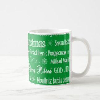 Alrededor del navidad del mundo taza de café