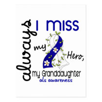 ALS Always I Miss My Granddaughter 3 Postcard