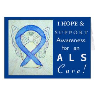 ALS Awareness Blue Ribbon Angel Greeting Cards
