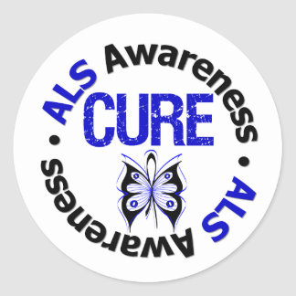 ALS Awareness CURE Butterfly Ribbon Classic Round Sticker