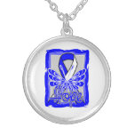 ALS Awareness Hope Butterfly Round Pendant Necklace