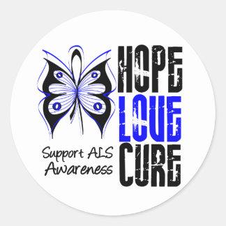ALS Awareness Hope Love Cure Classic Round Sticker