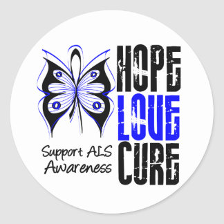 ALS Awareness Hope Love Cure Round Stickers